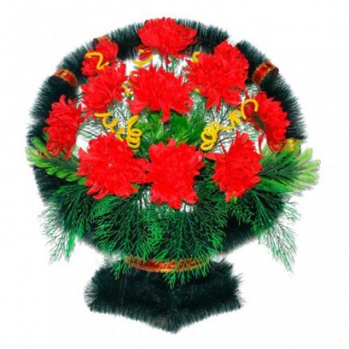 Корзина Ладья хризантемы красные