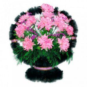 Корзина Ладья хризантемы розовые
