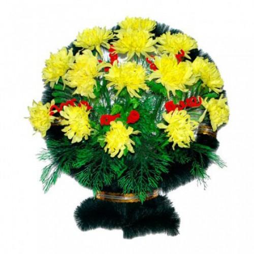 Корзина Ладья хризантемы желтые