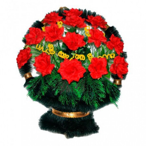 Корзина Ладья розы красные