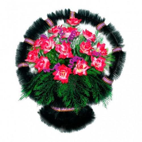 Корзина Ладья розы розовые