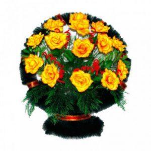 Корзина Ладья розы желтые