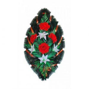 Венок Бархатные розы и лилии 90 см