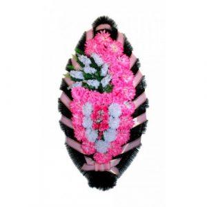 Венок Боковая сирень розовая 110 см