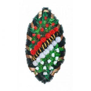 Венок Бутоны гладиолусы бело-красные 125 см