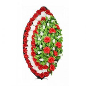 Венок Элегия роза красный 125 см