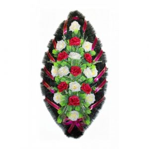 Венок Розы бело-бордовые 110 см
