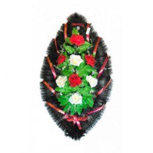 Венок Розы бело-бордовые 90 см