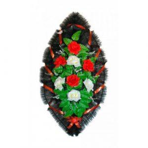 Венок Розы бело-красные 90 см