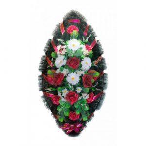 Венок Розы герберы бело-бордовые 110 см