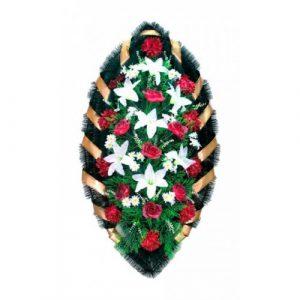 Венок Розы лилии бело-бордовые 140 см