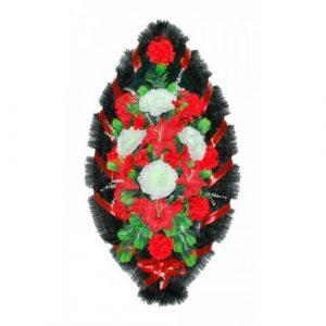 Венок Розы лилии бело-красные 110 см