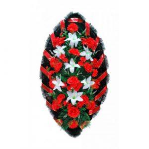 Венок Розы лилии бело-красные 140 см