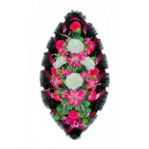 Венок Розы лилии бело-малиновые 110 см