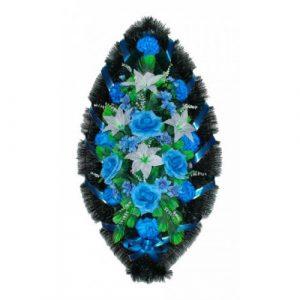 Венок Розы лилии бело-синие 110 см