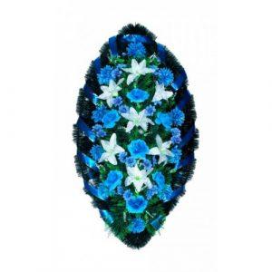 Венок Розы лилии бело-синие 140 см