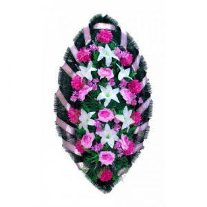 Венок Розы лилии бело-сиреневые 140 см