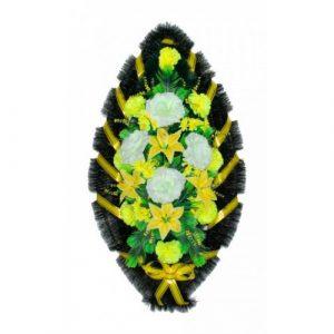 Венок Розы лилии бело-желтые 110 см